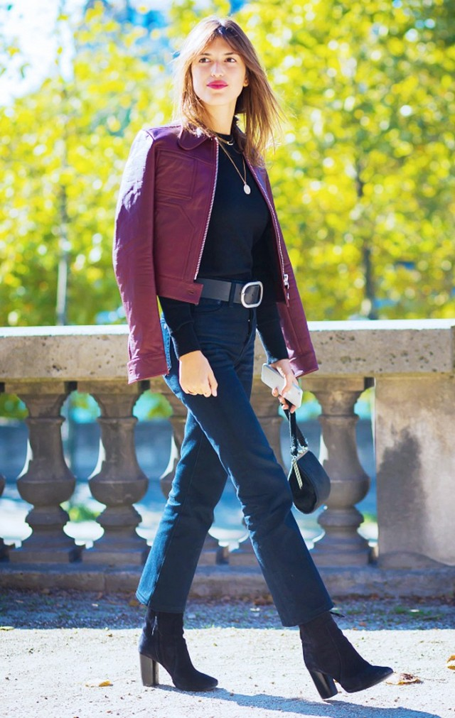 cropped pants booties belted burgundy leather jacket mockneck turltneck fall outfits style du monde colored leather