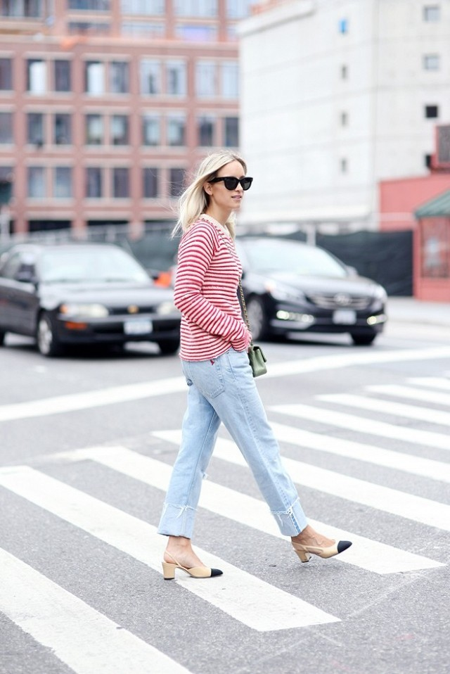 cuffed jeans frayed denim two tone heels striped shirt boyfriend jeans fall weekend outfit via