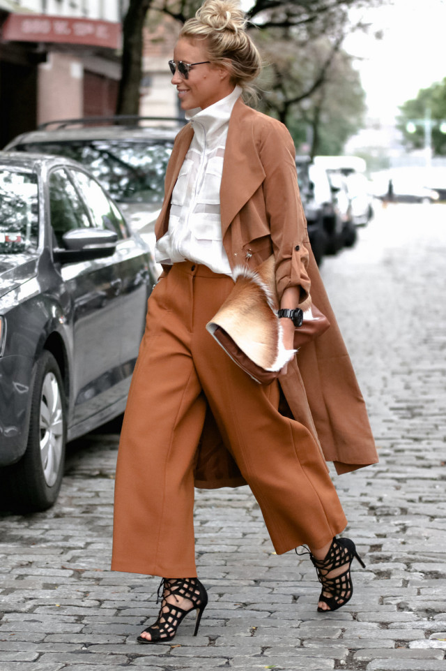 culottes high neck blouse fall work outfit monochormatic duster coat clay bronze camel