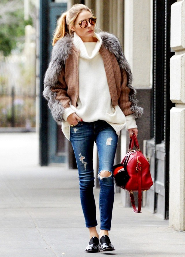 winter outfits, turtleneck sweater, jeans and furry cardigan, olivia palermo