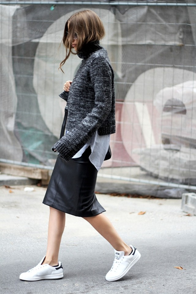 winter outfits, fall layers white sneakers addias sneakers black leather midi skirt pencil skirt sweater over shirt striped oxford shirt button up shirt grey sweater black scarf fall layers fall work outfit via fashion and style
