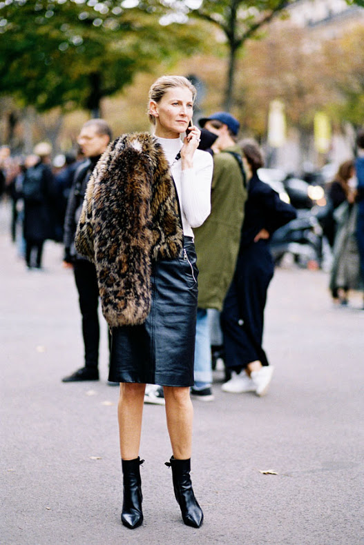 what to wear to work, fall work outfit black leather pencil skirt white turtleneck sweater blakc and whtie ankle booties pointy toe booties fur jacket bomber jacket, mockneck funnel neck