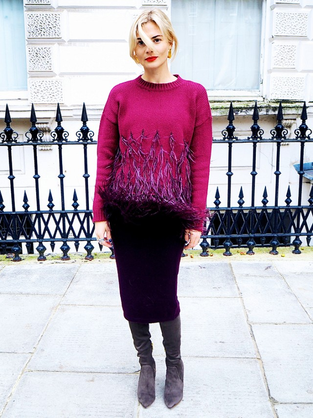 vanessa jackman, fringe feathered sweater black pencil skirt grey suede boots fall work outfit pandora sykes