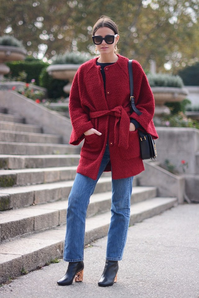 high waisted mom jeans croped jeans cropped jeans booties mod booties clear heel booties red coat belted coat bright coatfall outfit collarless coat sunglasses via fashionvibe