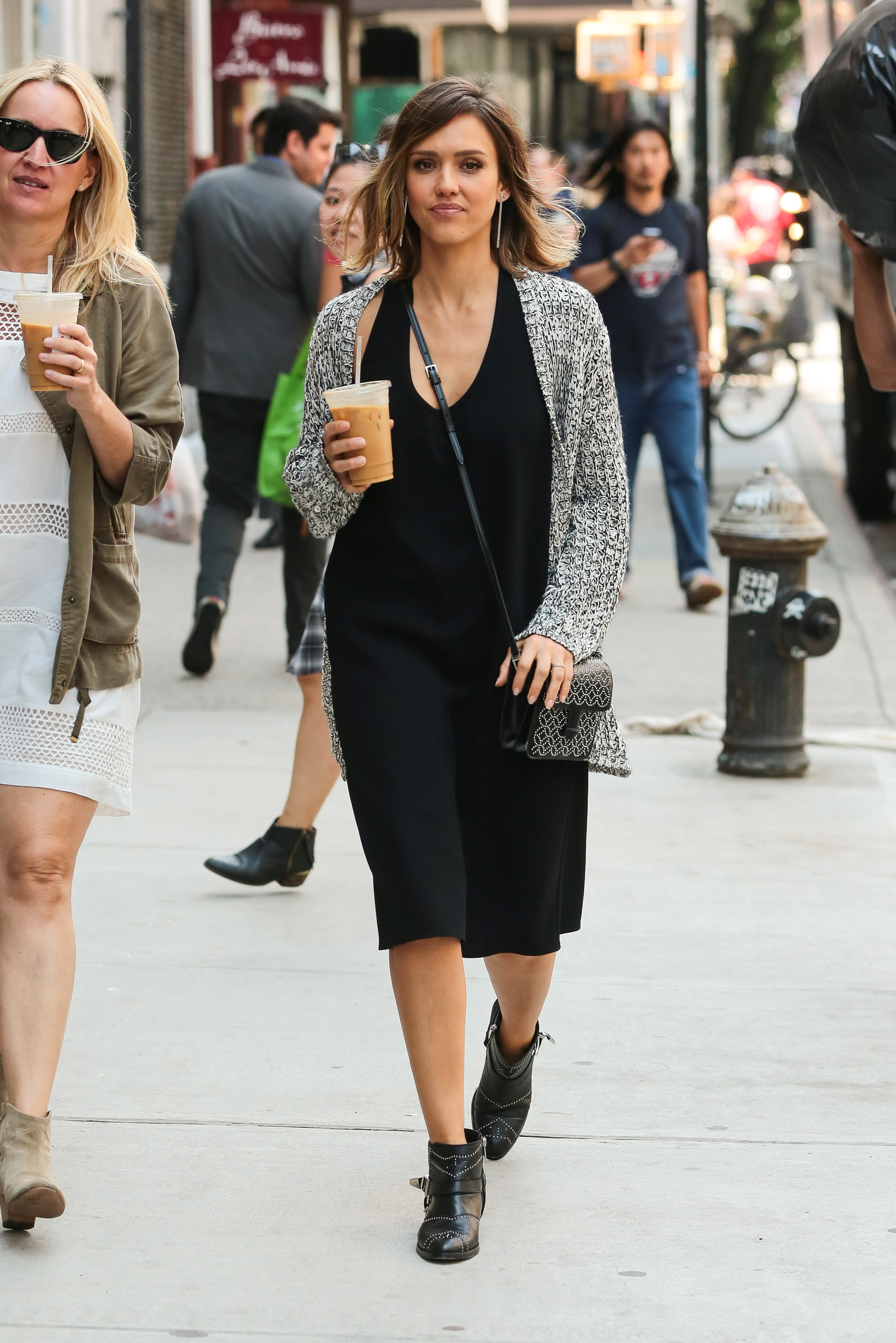 jessica alba black maxi dress cardigan moto boots getty ...