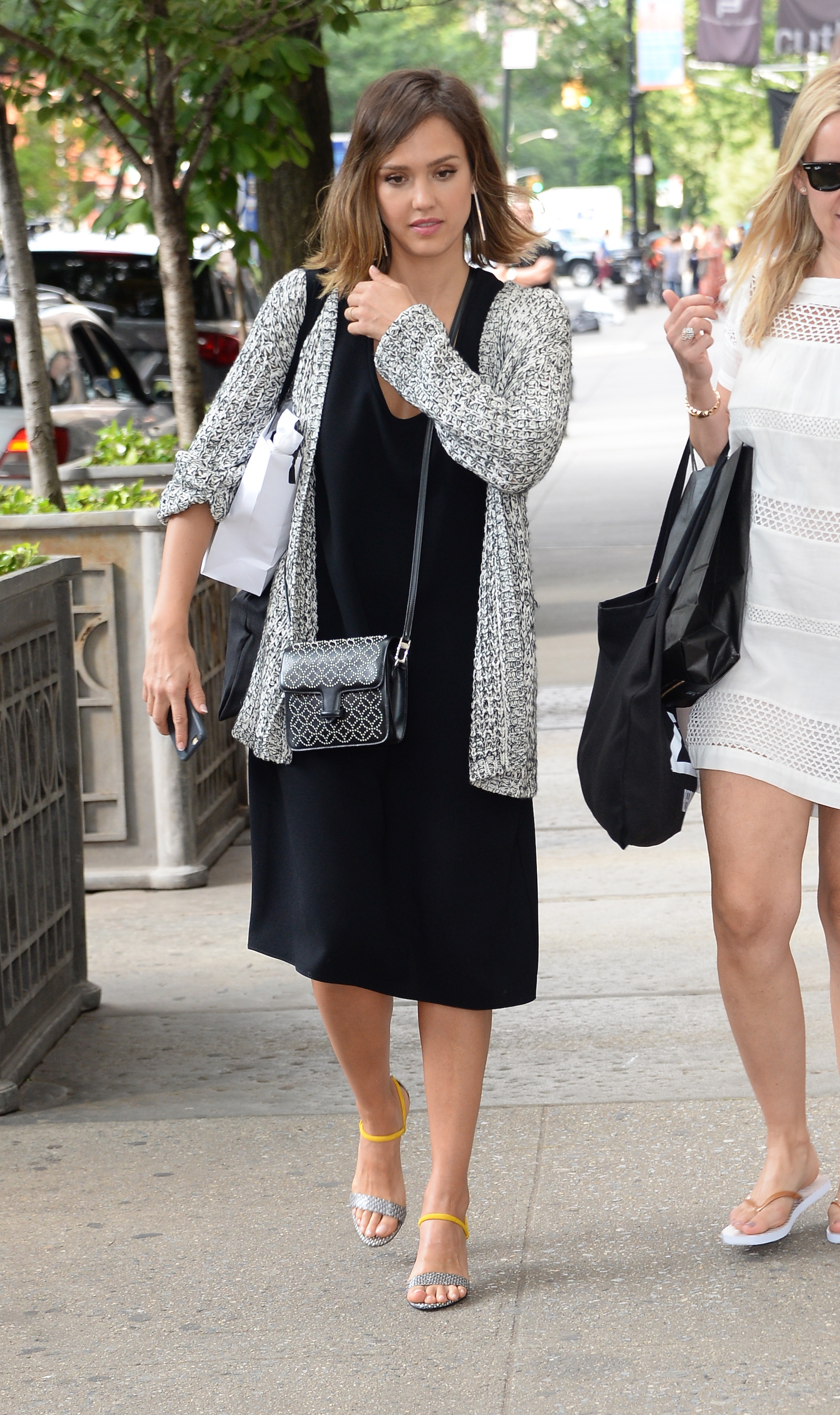 jessica-alba-black-midi-dress-sandals-boyfriend-cardigan-fall ...