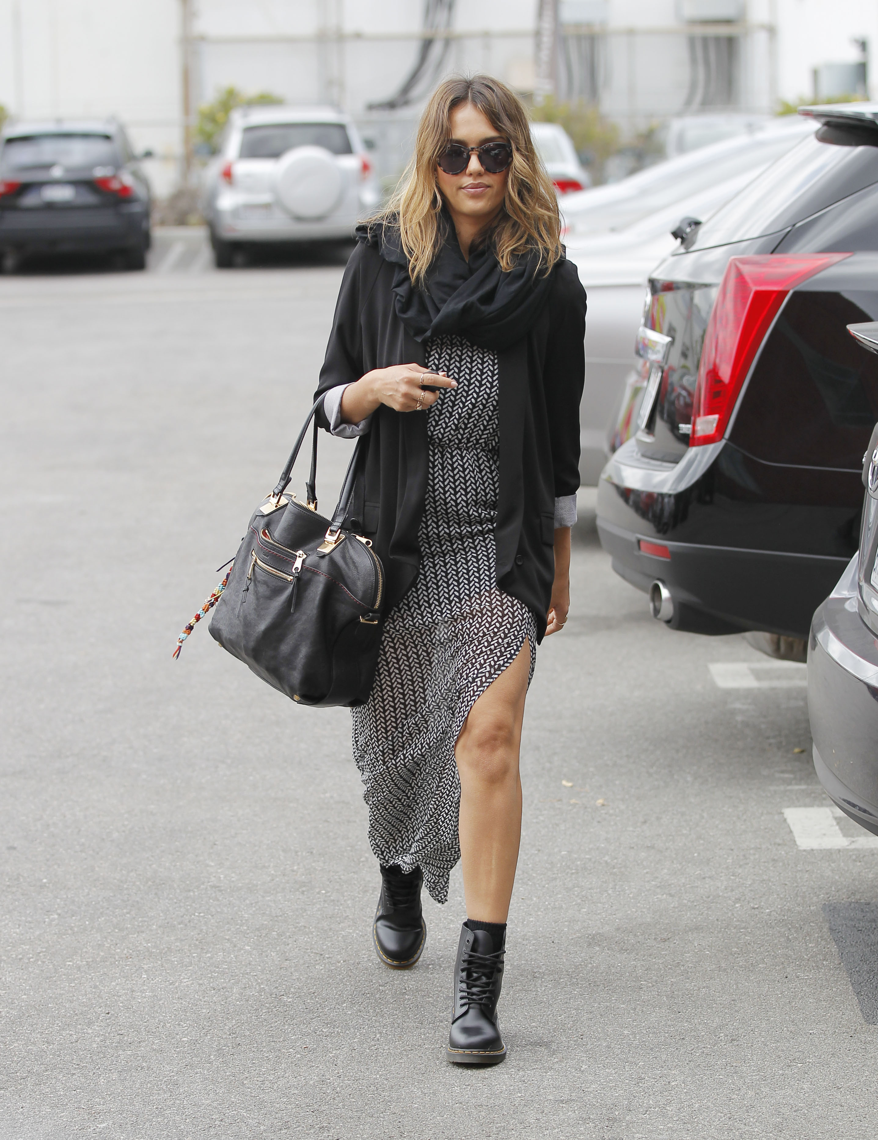 Black dress and cardigan - Jessica Alba Maxi Dress Cardigan Scarf Doc Martens Combat Boots Fall Work Outfit Grey Black
