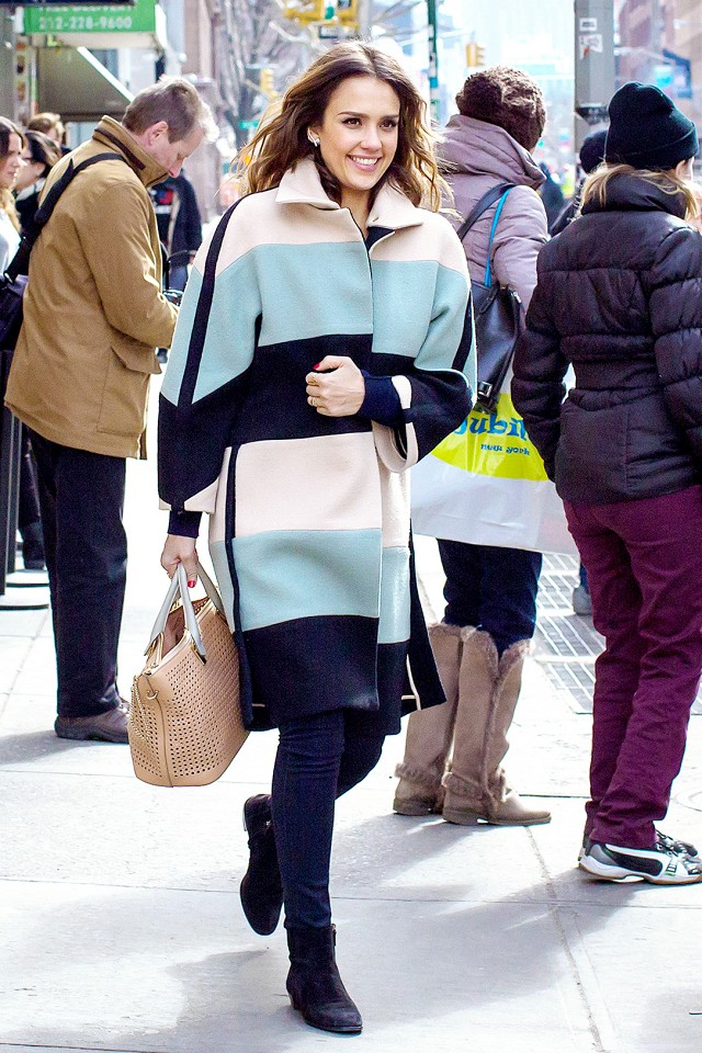 Jessica Alba Striped Coat Statement Coat Fall Winter Outfit Black Ankle Booties Chelsea Boots