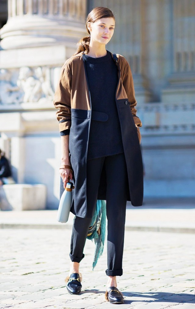navy monochromatic tunic rolled pants colorblock coat fall coat gucci fur slippers slip ons mode off duty fall work outfits