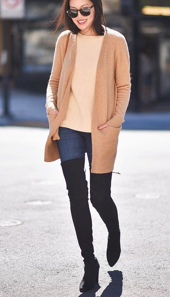 what to wear shopping, winter outfits, weekend outfits, holiday shopping outfit, over the knee boots cardigan boyfriend cardigan thigh high boots fall weekend outfit