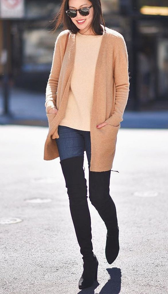over the knee boots cardigan boyfriend cardigan thigh high boots fall weekend outfit