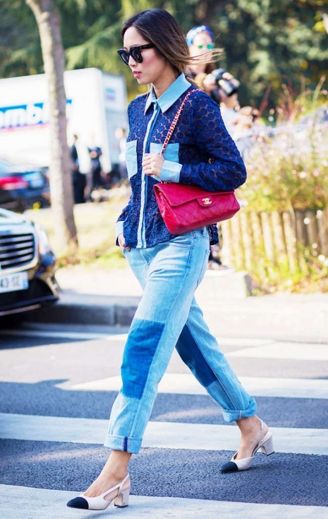 how to roll your jeans, denim styling, jeans patchwork denim rolled jeans two tone shoes aimee song song of style denim on denim