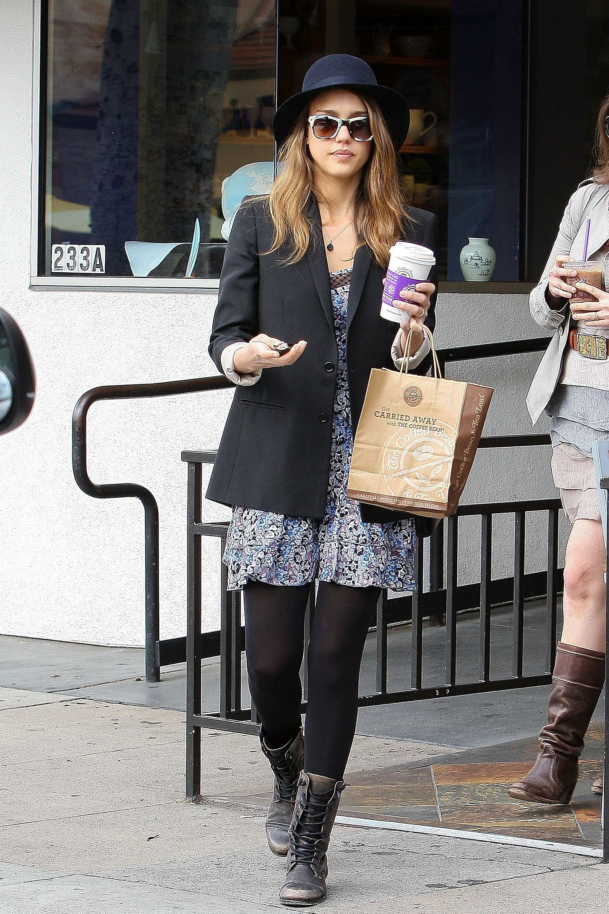Printed Dress Black Blazer Hat Boots Combat Boots Moto Boots Jessica Alba Style Closetful Of