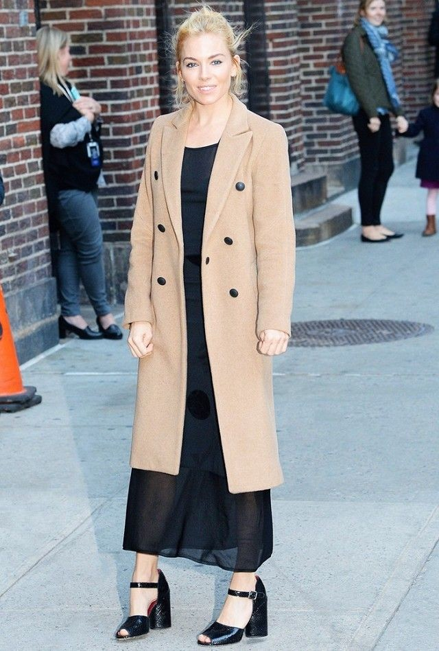 sienna miller- long black maxi dress classic camel coat mules slides fall going out night out party holiday party via www