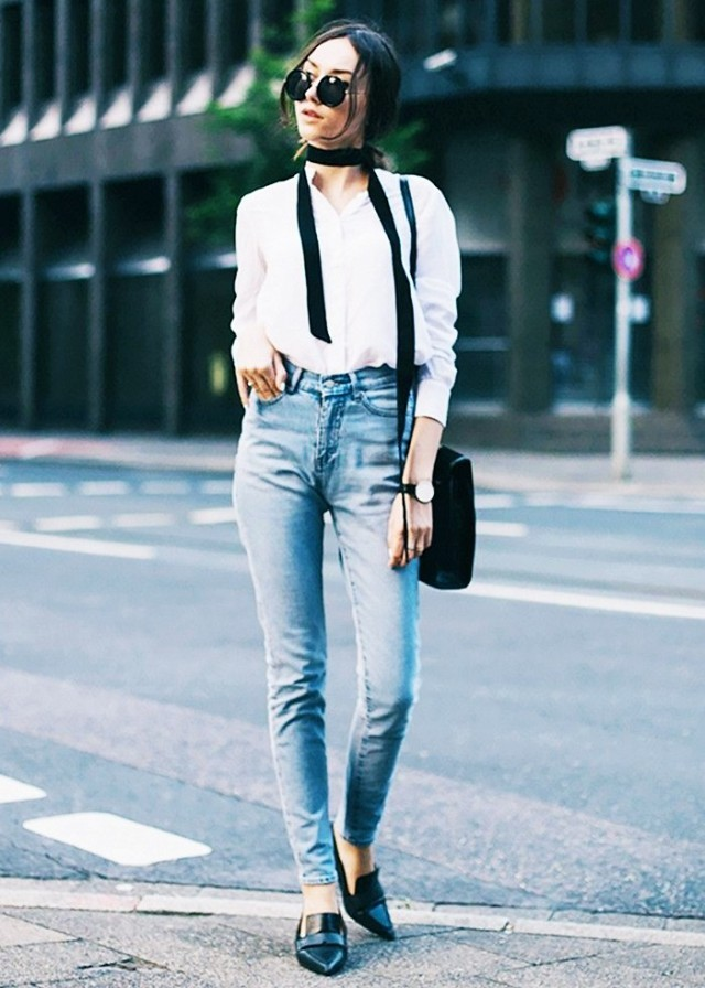 skinny scarf skinny jeans button up shirt oxford shirt black loafers pointy toe loafers weekend outfit date night night out via