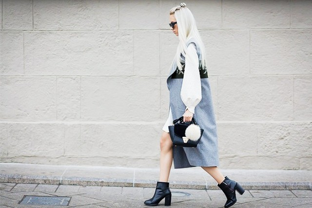 sleeveless jacket long vest black ankel booties white dress via style du monde