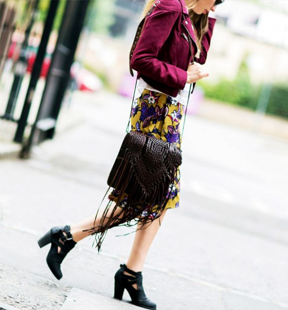 suede jacket floral skirt booties the styleograph