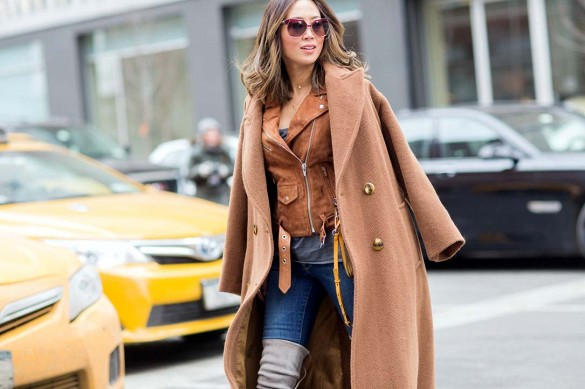 suede jacket over the knee boots camel coat fall layers blogger style outfit repeat
