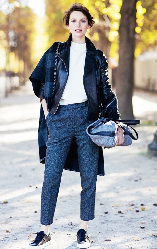what to wear to work this week, tomboy menswear rey trouser pants cropped pants sneakers black leather moot jacket mockneck top fall neutrals checkered plaid poncho fall jackets via stockholm ss fall work outfit