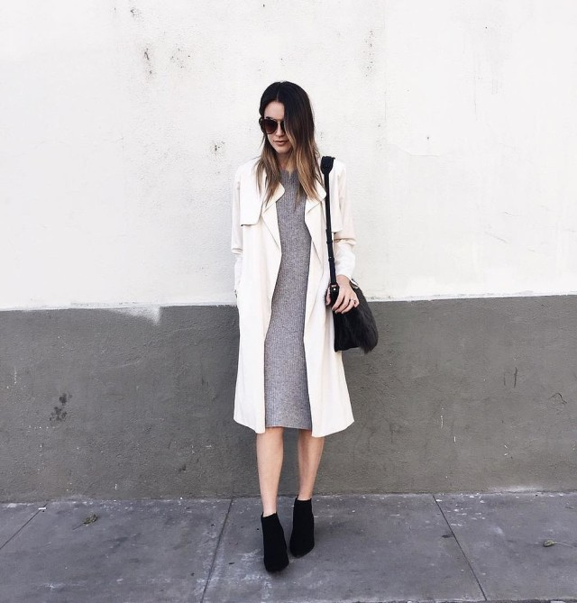 trench coat duster coat black booties grey sweater dress midi dress fall neutrals fall work outfit via