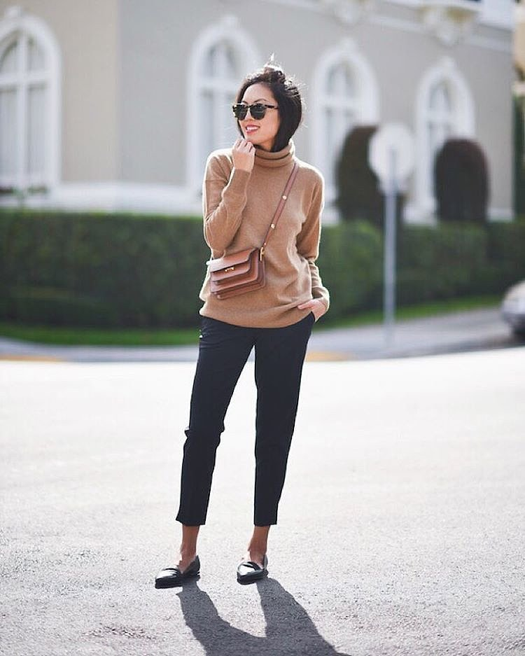 turtleneck sweater black cropped pants black laofers thanksgiving ...