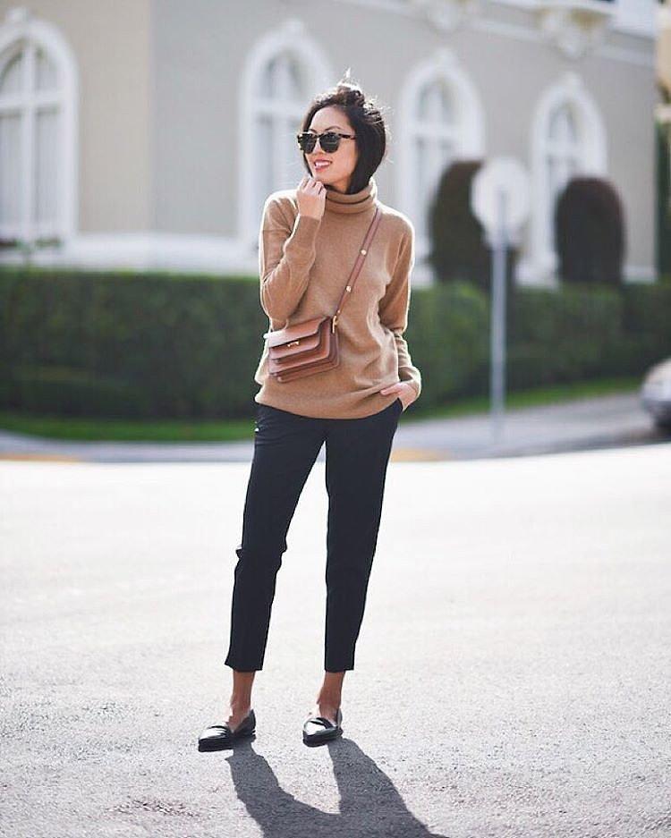 turtleneck sweater black cropped pants black laofers thanksgiving ...