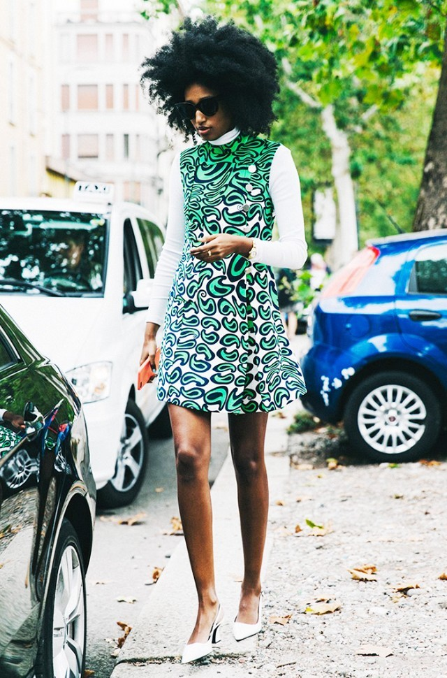 turtleneck under dress green paisley mod print white pumps