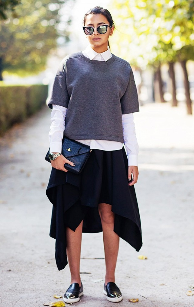 uneven hemline grey fall layers hankerchief skirt loafers stockholm street style fall work outfits