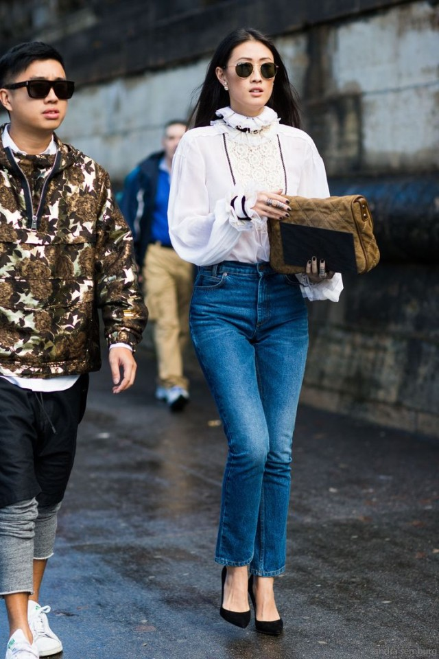 how to wear victorian blouses, paris fashion week street style, fall trends, fall outfit ideas, high-waisted mom jeans, cropped jeans