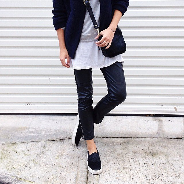 weekend outfits leather pants skinnies white tee sweatshirt sneakers navy baseball jacket carddigan fall neutrals casual via andicsinger instagram