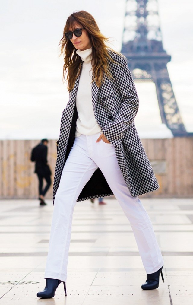 white pants ivory monochromatic all white fall whites black booties checkered coat statement coat printed coat via style du monde