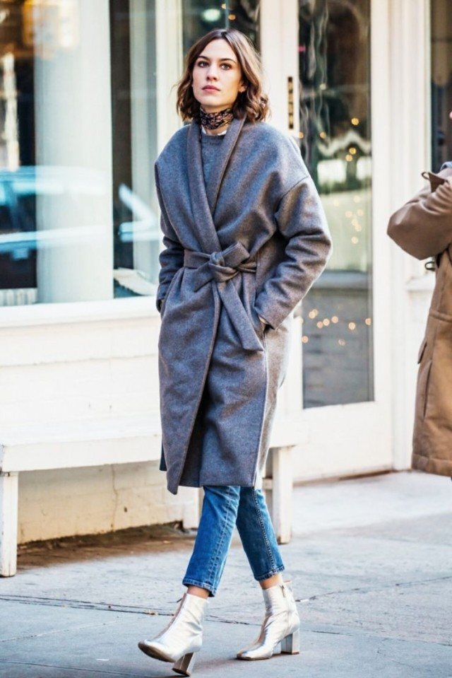 what to wear shopping, winter outfits, weekend outfits, holiday shopping outfit, alexa chung-silver metallic-b booties-grey robe wrap coat-cropped jeans-weekend style-viawww