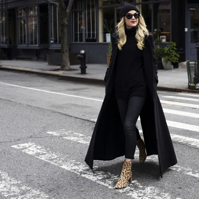 what to wear shopping, winter outfits, weekend outfits, holiday shopping outfit, all black-leopard print booties-black coat-black skinnies-coated skinnies-black turtleneck sweater-black beanie-casual work outfit-winter weekend outfit-brunch-christmas-via instagram blaireadiebee