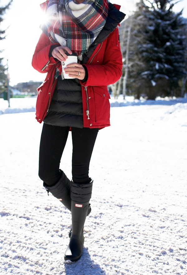 what to wear this weekend, puffer vest, leggings, parka, plaid scarf