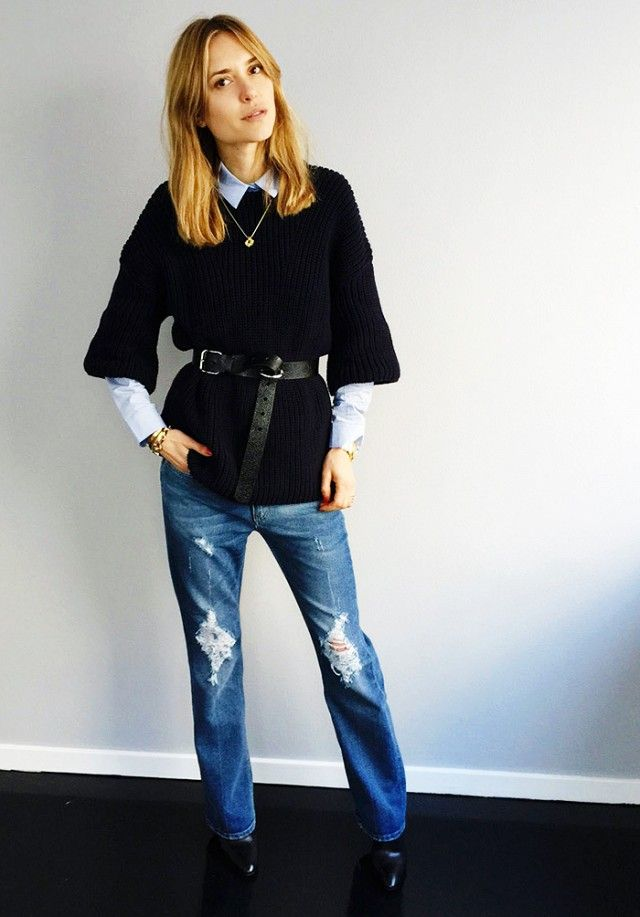 belted sweater, fall layers, sweater over shirt, look de pernille
