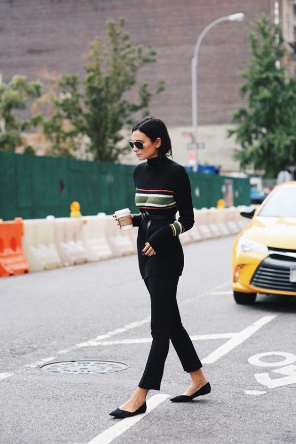 belted sweater, striped colorblock sweater, cropped black pants, belt belted, ballet flats, fall work outfit, starbucks, coffee via www
