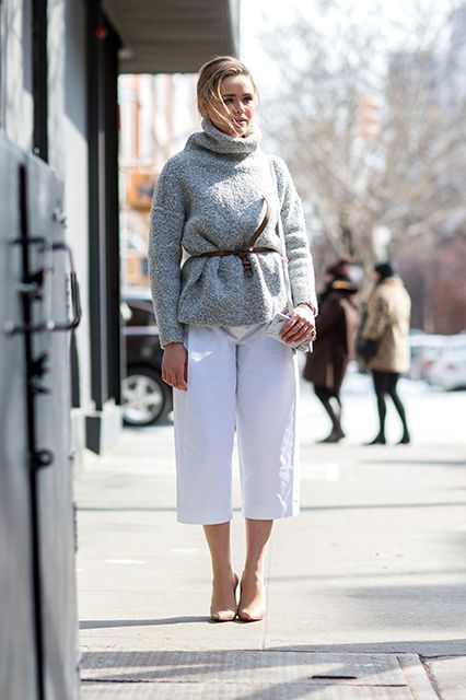 outfit ideas: culottes and turtleneck sweaters, belted sweater-turtleneck sweater-culottes-cropped pants-belt-tie belt-nude pumps-winter whites-fall winter work outfit-refinery