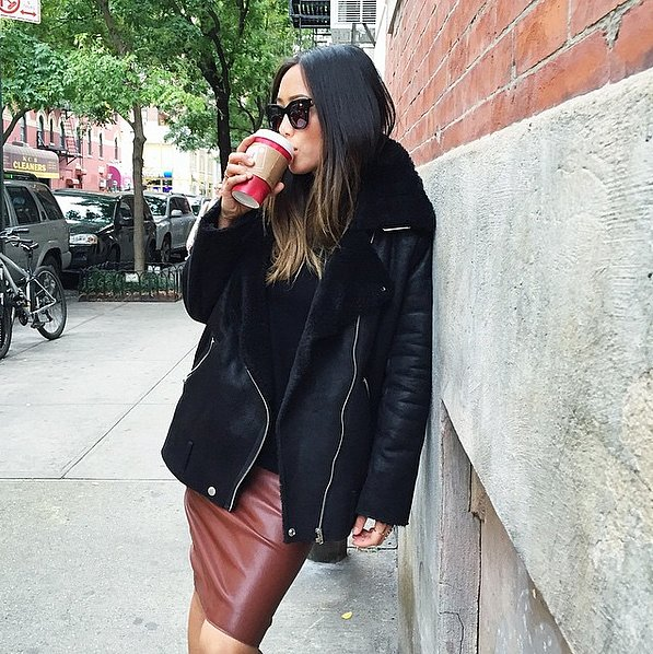 black shearling oat-tan brown leather skirt-winter outfit-via songofstyle instagram