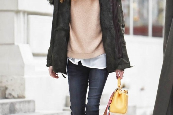 black skinnies-high tops-turtleneck sweater swatshirt-winter layering-parka-hat-beanie-olivia-palermo-winter weekend otufit-www