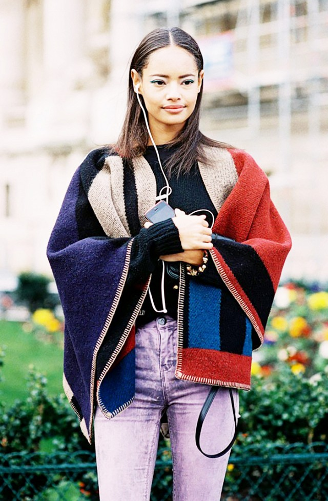 blanket coat-scarf-model off duty style-via vanessa jackman