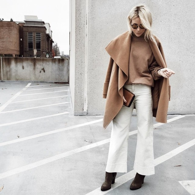 camel and white-cropped flares wide leg pants-fall winter work outfit-shawl neck coat-blanket coat-camel coat-camel turtleneck-brown bootis-cropped flares and booties-holiday-happilygrey instagram