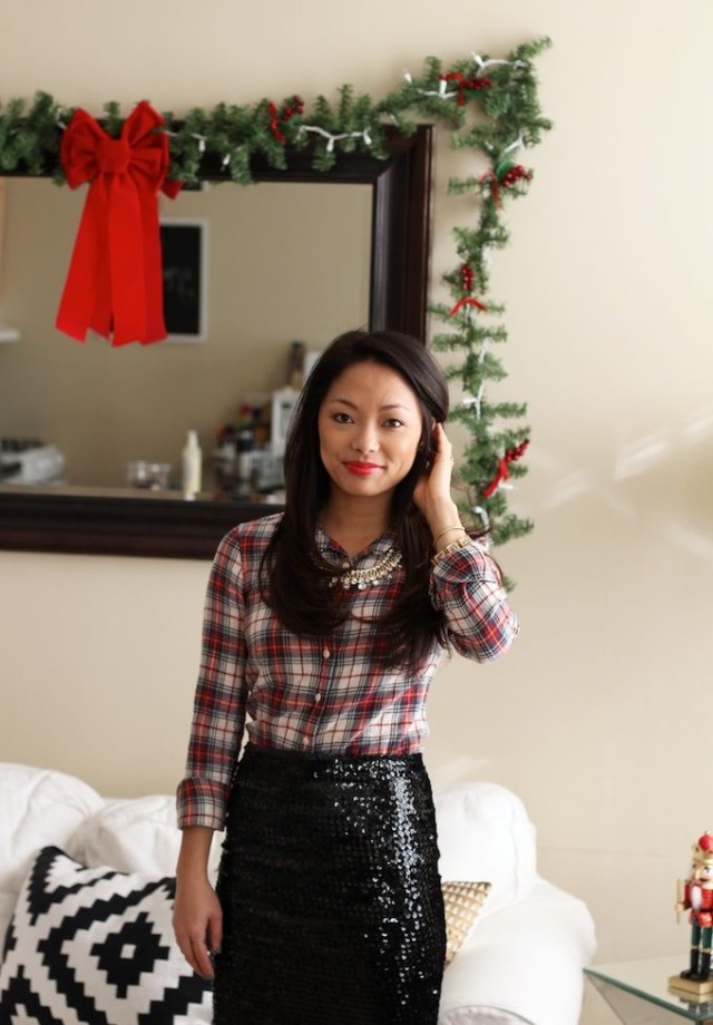 christmas outfit-holiday outfit-what to wear to christmas party-what to wear to a holiday party-plaid shirt-sequined skirt-holiday office party