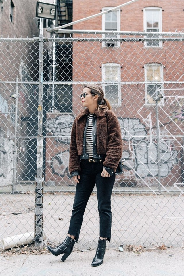 how to wear brown and black, cropped jeans frayed hem-booties-boots and jeans-shearling jacket-bomber jacket-striped tee-brown and black