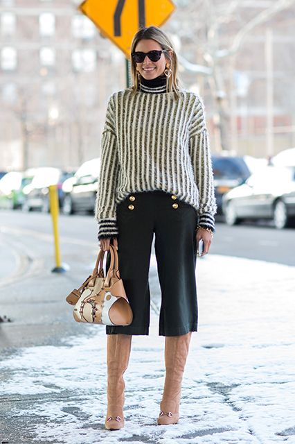 outfit ideas: culottes and turtleneck sweaters, culottes-cropped pants-turtleneck sweater-knee high boots and cropped pants-sailor pants-buckles-helena-refinery-tan boots-gucci boots