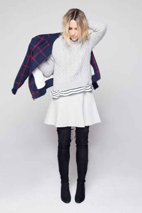 how to layer-white skirt in winter-stripes-grey turtleneck sweater-plaid jacket-over the knee boots-leggings and skirts-damsel in dior-via elle