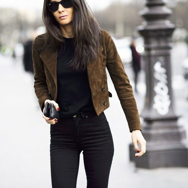 how to wear brown and black-brown suede jacket