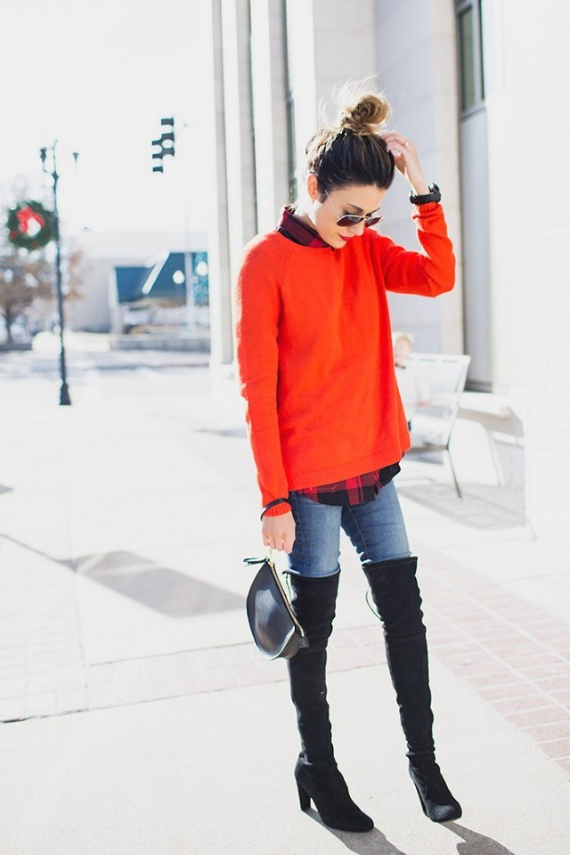over the knee boots-holiday dressing-christmas-red sweater-plaid shirt-lumberjack plaid-jeans-via-wwww