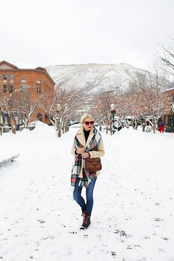 snow outfits, what to wear in a snowstorm, winter outfit, ski outfit-pea coat-snow boots-plaid scarf-apres ski-atlanticpacficic