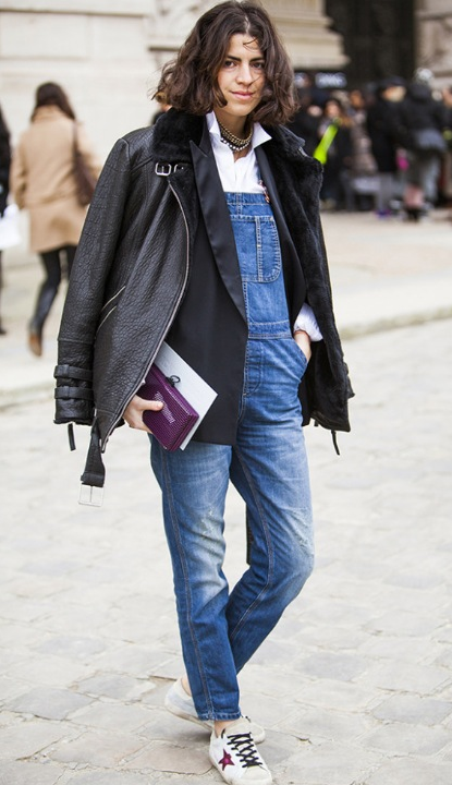 how to layer, overalls, moto jacket, blazer, leandra medine