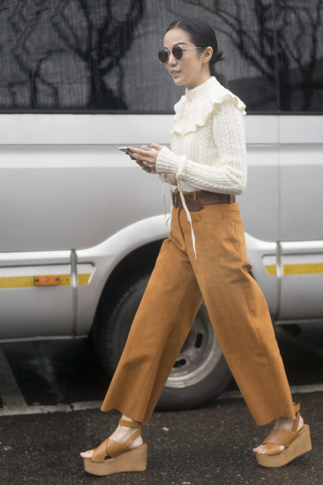 victorian blouse-suede pants-suede culottes-cropped pants-platform sandals-wedges-spring work outfit-